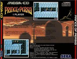 Box back cover for Prince of Persia on the Sega CD.