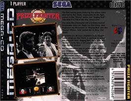 Box back cover for Prize Fighter on the Sega CD.