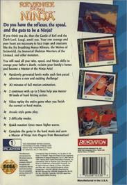 Box back cover for Revenge of the Ninja on the Sega CD.