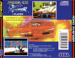 Box back cover for Road Avenger on the Sega CD.