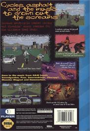 Box back cover for Road Rash on the Sega CD.