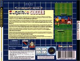 Box back cover for Sensible Soccer: European Champions: 92/93 Edition on the Sega CD.