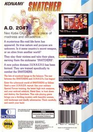 Box back cover for Snatcher on the Sega CD.