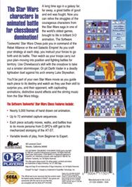 Box back cover for Star Wars Chess on the Sega CD.