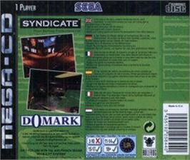 Box back cover for Syndicate on the Sega CD.