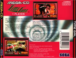 Box back cover for Time Gal on the Sega CD.