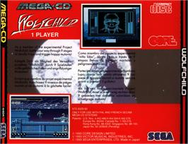 Box back cover for Wolfchild on the Sega CD.