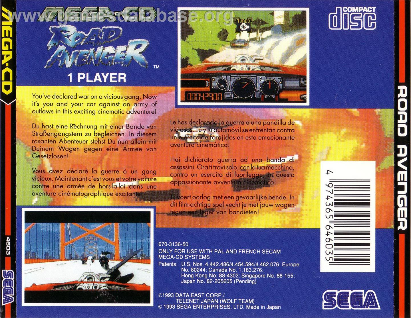Road Avenger - Sega CD - Artwork - Box Back