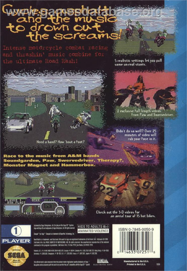 Road Rash - Sega CD - Artwork - Box Back