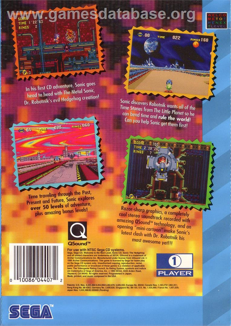 Sonic CD - Sega CD - Artwork - Box Back