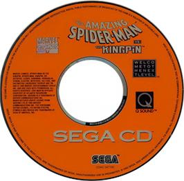 Artwork on the CD for Amazing Spider-Man vs. The Kingpin on the Sega CD.