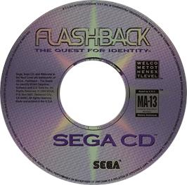 Artwork on the CD for Flashback on the Sega CD.