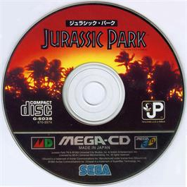 Artwork on the CD for Jurassic Park on the Sega CD.