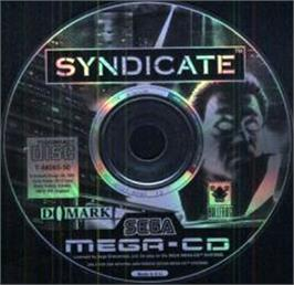 Artwork on the CD for Syndicate on the Sega CD.