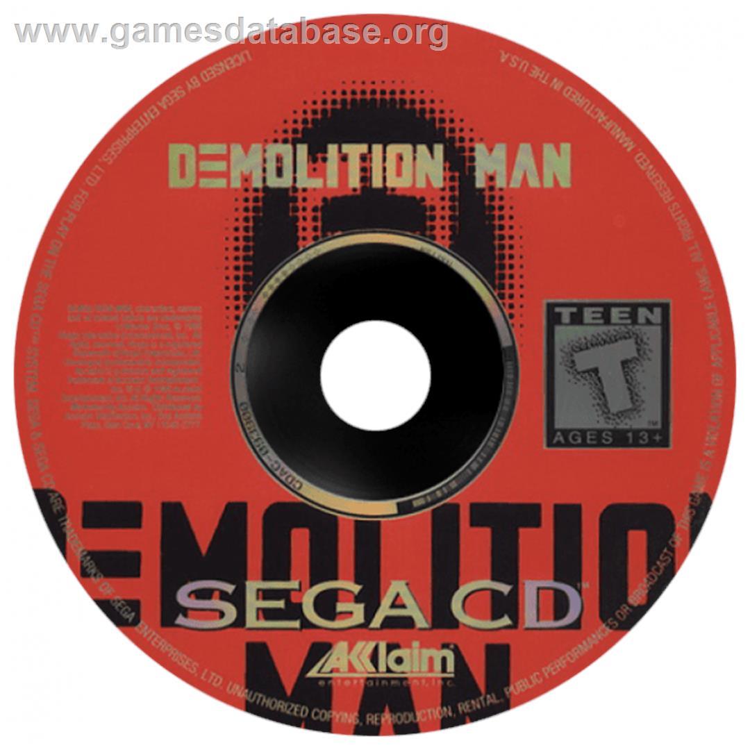 Artwork on the CD for Demolition Man on the Sega CD.