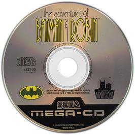 Artwork on the Disc for Adventures of Batman & Robin on the Sega CD.