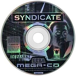 Artwork on the Disc for Syndicate on the Sega CD.