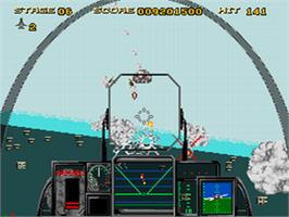 In game image of After Burner III on the Sega CD.