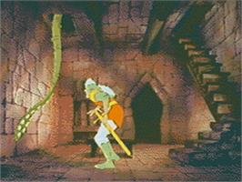 In game image of Dragon's Lair on the Sega CD.