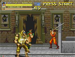 In game image of Final Fight CD on the Sega CD.