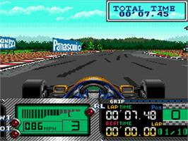 In game image of Formula 1 World Championship: Beyond the Limit on the Sega CD.
