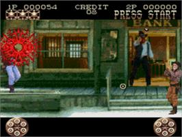 In game image of Lethal Enforcers II: Gun Fighters on the Sega CD.