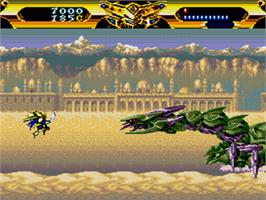In game image of Lords of Thunder on the Sega CD.