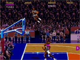 In game image of NBA Jam on the Sega CD.