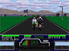 In game image of Road Rash on the Sega CD.
