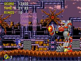 In game image of Sonic CD on the Sega CD.