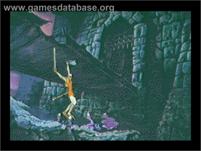 In game image of Dragon's Lair on the Sega CD.