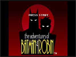Title screen of Adventures of Batman & Robin on the Sega CD.