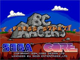 Title screen of BC Racers on the Sega CD.