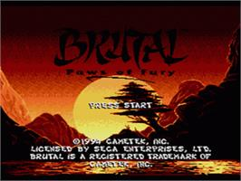 Title screen of Brutal: Paws of Fury on the Sega CD.