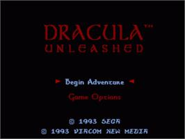 Title screen of Dracula Unleashed on the Sega CD.