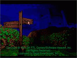 Title screen of Dungeon Master II: The Legend of Skullkeep on the Sega CD.