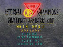 Title screen of Eternal Champions: Challenge from the Dark Side on the Sega CD.