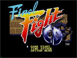 Title screen of Final Fight CD on the Sega CD.