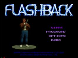 Title screen of Flashback on the Sega CD.