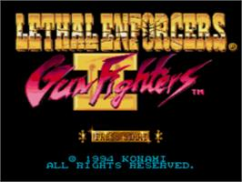 Title screen of Lethal Enforcers II: Gun Fighters on the Sega CD.