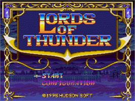 Title screen of Lords of Thunder on the Sega CD.