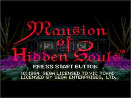 Title screen of Mansion of Hidden Souls on the Sega CD.