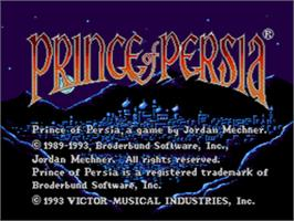 Title screen of Prince of Persia on the Sega CD.