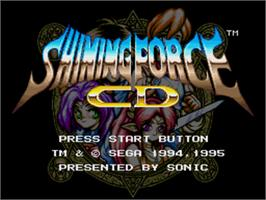 Title screen of Shining Force CD on the Sega CD.