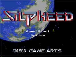Title screen of Silpheed on the Sega CD.