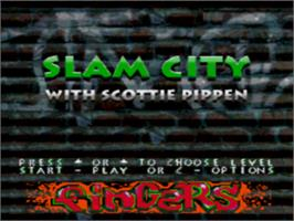 Title screen of Slam City with Scottie Pippen on the Sega CD.