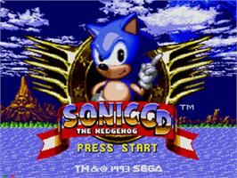 Title screen of Sonic CD on the Sega CD.