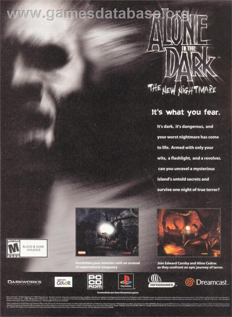 Alone in the Dark: The New Nightmare - Sony Playstation - Artwork - Advert
