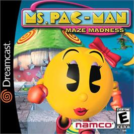 Box cover for Ms. Pac-Man Maze Madness on the Sega Dreamcast.