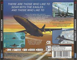 Box back cover for Aerowings 2: Air Strike on the Sega Dreamcast.